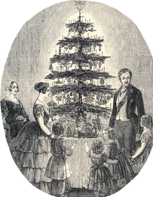 Queen Victoria and Prince Albert celebrating Christmas